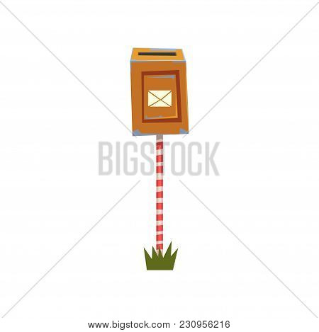Old Shabby Mailbox Hanging On Striped Pole. Mailbox Standing On Piece Of Green Grass. Cartoon Design