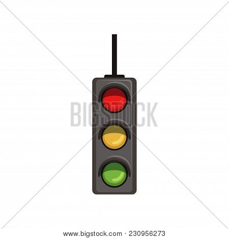 Cartoon Illustration Of Hanging Traffic Semaphore With Three Colorful Lamps. Road Control Device Wit