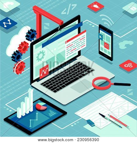 Web Design, Development And Information Technology: Laptop, Smartphone And Tablet On An Isometric De