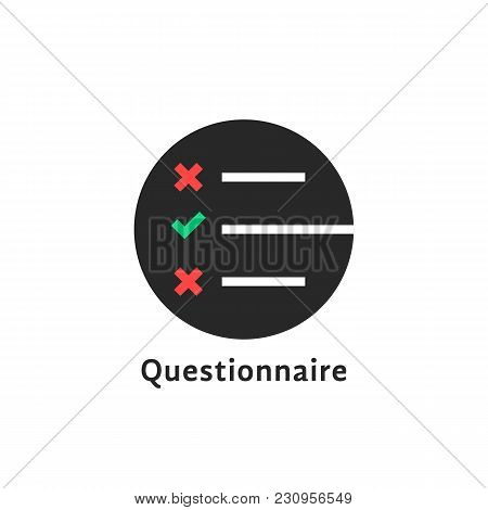 Round Simple Questionnaire Logo. Unusual Style Trend Modern Logotype Graphic Design Isolated On Whit
