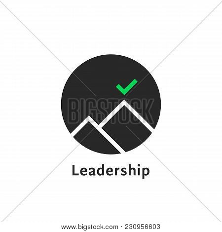 Round Simple Leadership Logo Isolated On White. Concept Of Business Aim For Goal-oriented Person And
