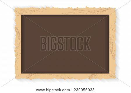 Frame Retro Photo On White Background. Vintage Horizontal Blank Old Photography. Vector Illustration