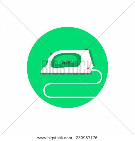 Round White Simple Iron Icon. Flat Style Trend Modern Logotype Graphic Design Isolated On Background