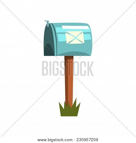 Cartoon Style Illustration Of Metallic Mailbox On Wooden Pole. Icon Of Blue Closed Postbox Standing