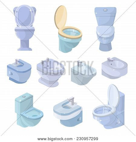 Toilet Bowl And Seat Vector Toiletries Flush And Bathroom Ceramic Equipment Or Sanitary Toilette In