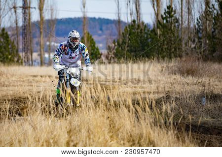 Pribram, Czech Republic - 11.03.2018: Motocross Rider In Action On The Off-road In Nature Next To Sm