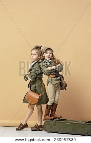 Two Beautiful Girls On A Pastel Background