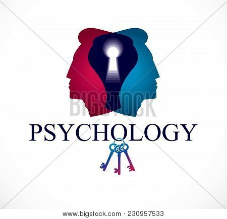 Psychology And Mental Health Concept, Created With Double Man Head Profile And Keyhole, Psychoanalys