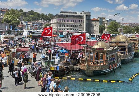 People At Eminonu Square In The Old Town, Istanbul, Turkey, Europe