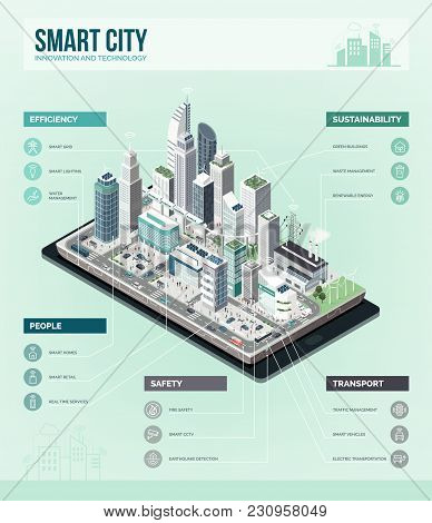 Smart City, Augmented Reality And Technology Concept: Metropolis With Skyscrapers And People On A Sm