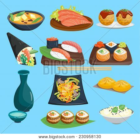 Japane Food Vector Sushi On Plate Sashimi Roll Or Nigiri And Seafood With Rice In Japanese Restauran