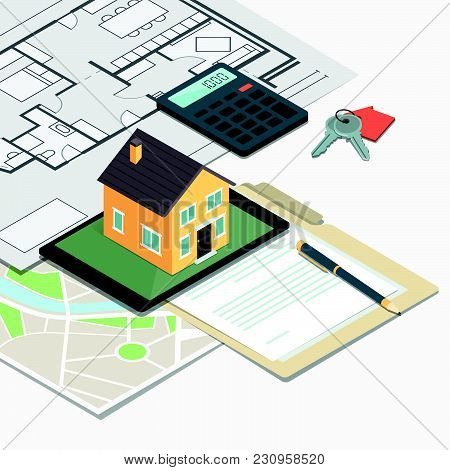 Real Estate, Loan And Home Insurance: Model House On A Table, House Plan And Home Keys