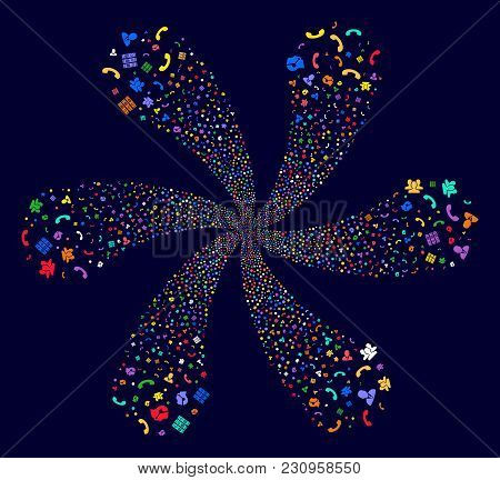 Psychedelic Call Center Symbols Explosion Composition On A Dark Background. Hypnotic Flower With Six
