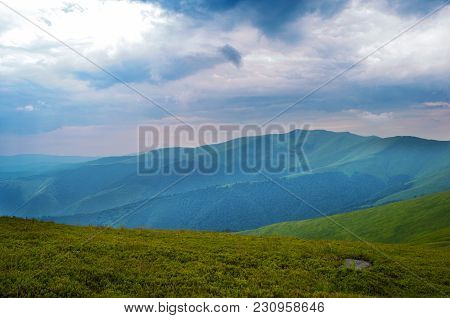 Clouds Lowering Above Mountain Tops. Borzhava Mountain Range