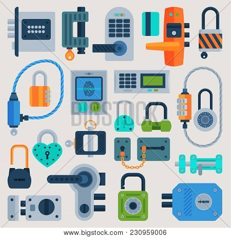 Lock Door Vector Flat Icons Set Security House Protection Concept Safety Password Sign Privacy Eleme