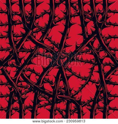 Horror Art Style Seamless Pattern, Vector Background. Blackthorn Branches With Thorns Stylish Endles