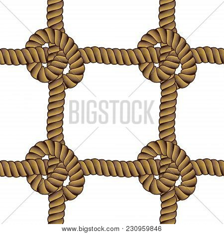 Seamless Nautical Rope Pattern Vector. Endless Navy Illustration With Loop Cord Lines Ornament. Cord