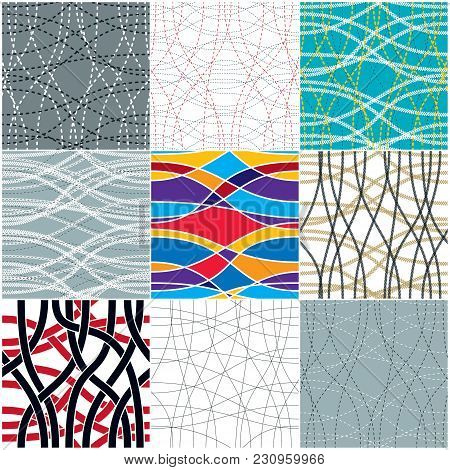Tangled Curvy Lines Seamless Patterns Set, Vector Repeat Endless Backgrounds Collection, Artistic St
