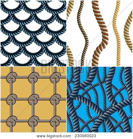 Rope Seamless Patterns Set, Trendy Vector Backgrounds Collection. Endless Navy Illustrations With Fi