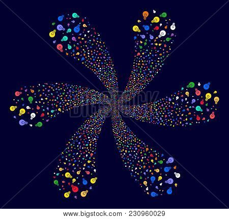 Multicolored Electric Bulb Swirl Abstract Flower On A Dark Background. Suggestive Cluster Designed F