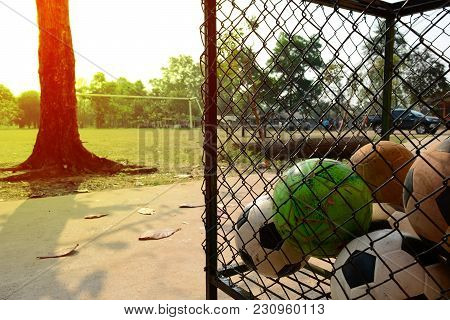 Balls In Wire Case On Cement Ground With Sunlight On The Tree And Football Field  At School In The M