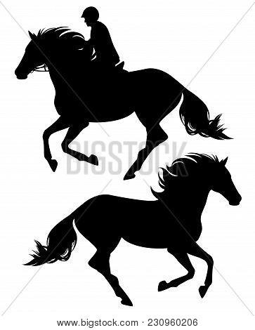 Running Horse And Horseback Rider Black Vector Silhouette