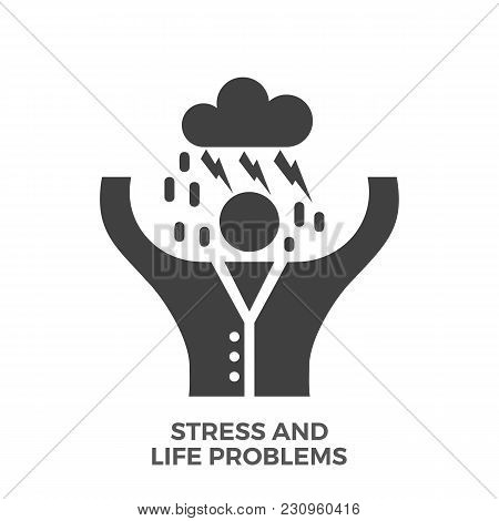 Stress And Life Problems Glyph Vector Icon Isolated On The White Background.