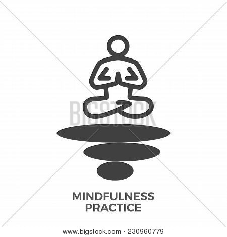 Mindfulness Practice Glyph Vector Icon Isolated On The White Background.