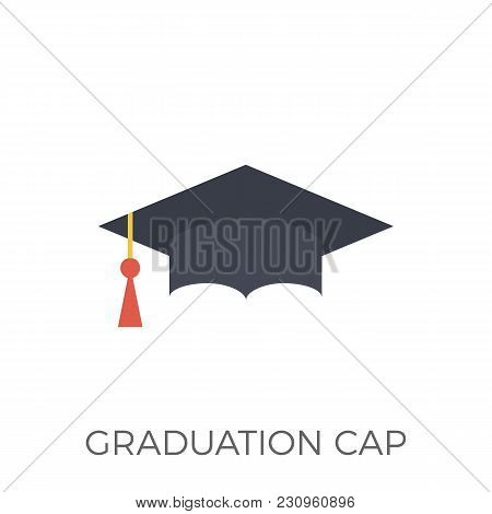 Graduation Cap Icon Vector. Isolated On White Background. Trendy Flat Style.