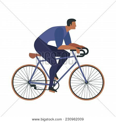 Cool Vector Character Design On Adult Young Man And Woman Riding Bicycles. Stylish Male And Female H