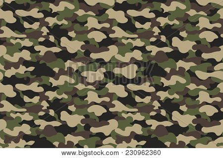 Camouflage Seamless Pattern. Military Clothing Texture Background With Green And Brown Foliage. Army
