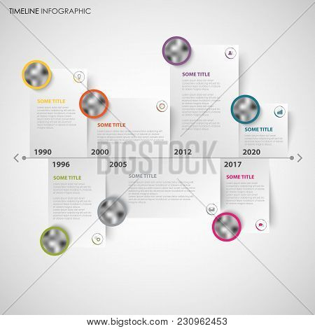 Time Line Info Graphic With Note Papers And Design Elements Vector Eps 10