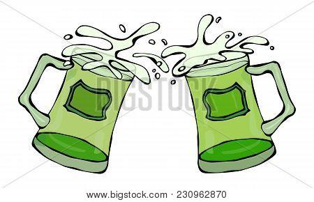 Green Beer St. Patricks Day Symbol Two Glasses With Splash Of Alcoholic Drink. Saint Patricks Day Ir