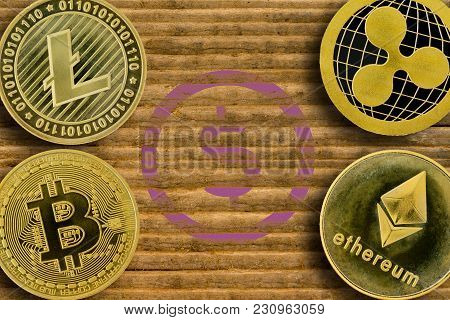 Concept Of A Disappearing Dollar To Be Replaced With The Four Cryptocurrencies Bitcoin, Litecoin, Et