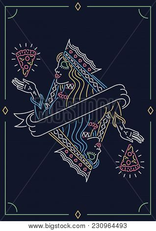 The Queen Of Pizza Neon Sign