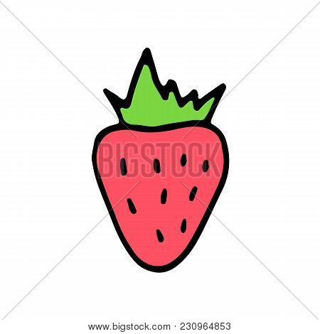 Sweet Cartoon Hand Drawn Strawberry. Cute Vector Colorful Doodle Strawberry. Isolated Funny Strawber