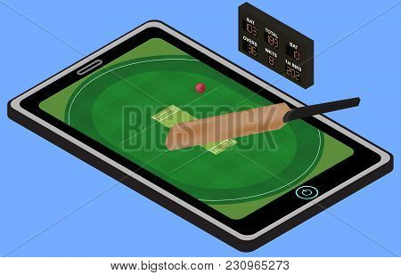 Infographic Cricket Playground, Ball, Cricket Stick, And Tablet. Isometric Image. Isolated. In Vecto