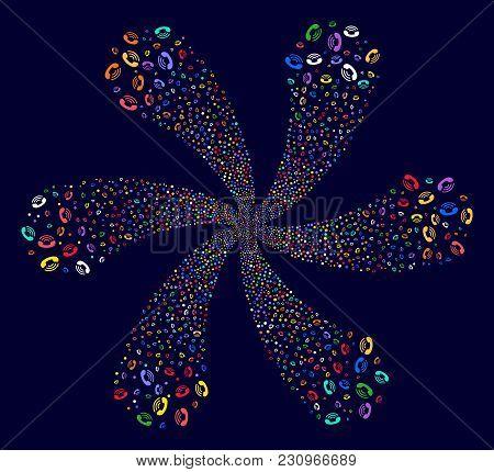 Multicolored Phone Ring Twirl Flower Shape On A Dark Background. Hypnotic Burst Created From Randomi