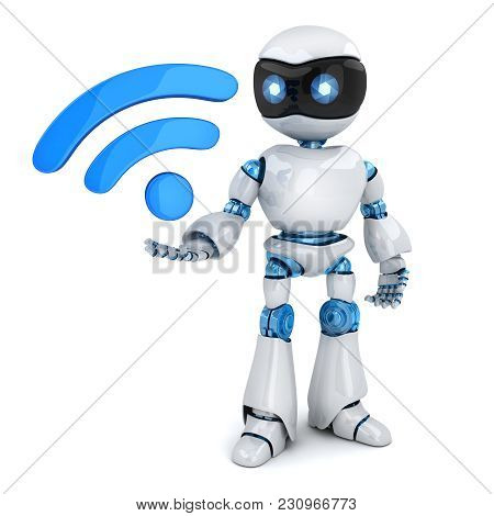Robot And Symbol Wireless Wi-fi. 3d Illustration