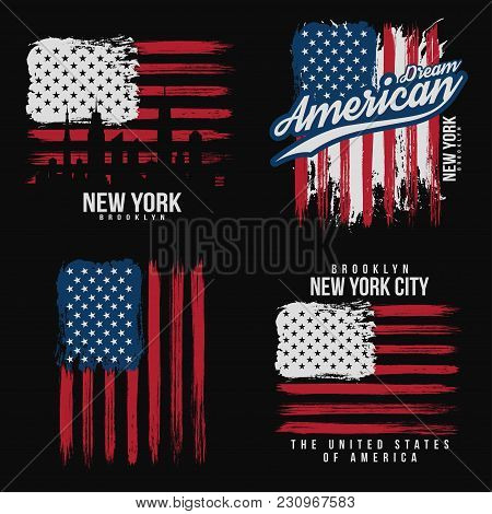 T-shirt Graphic Design With American Flag And Grunge Texture. New York Typography Shirt Design. Set