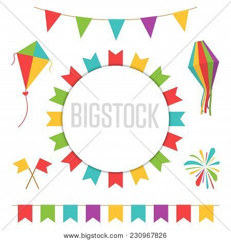 Garland With Colorful Flags. Carnival Or Festival Flags With Lantern, Firework And Flying Kite. Deco