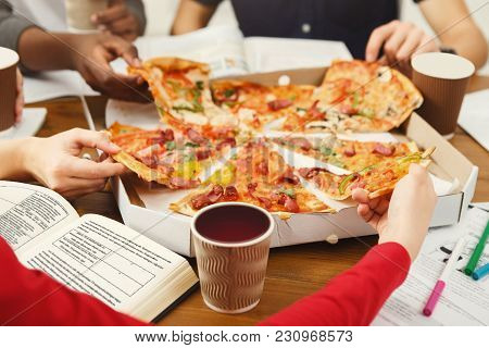 Pizza Delivery. Happy People Eating Lunch At Coworking Office During Break, Crop, Closeup