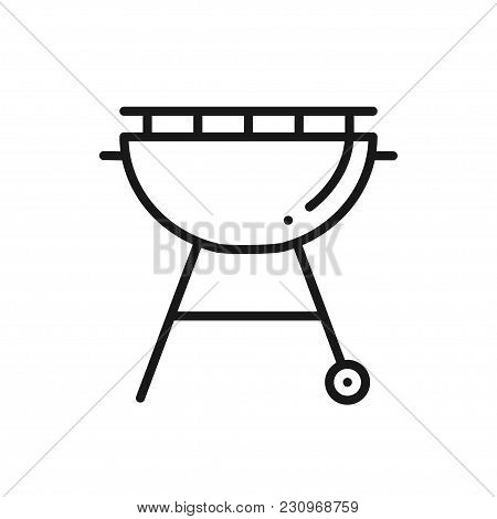Grill Line Icon. Roaster Bbq. Charcoal Grill Sign And Symbol. Barbecue