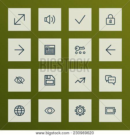Interface Icons Line Style Set With Earth, Note, Increase And Other Lock Elements. Isolated Vector I