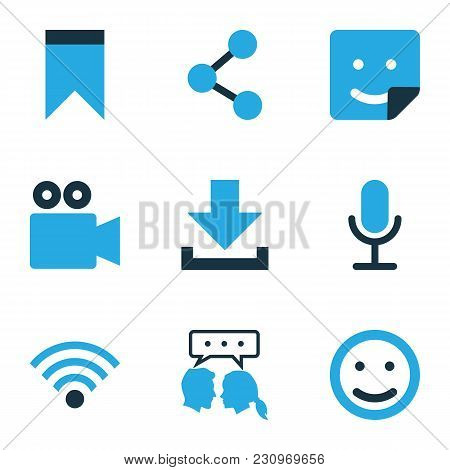 Social Icons Colored Set With Talking, Smile, Pennant And Other Share Elements. Isolated Vector Illu