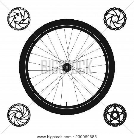 Bicycle Wheel Silhouette Plus 4 Disc Brake Rotors Of Different Shapes. Vector Illustration