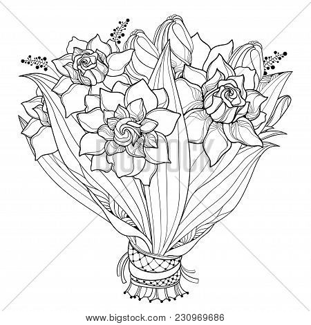 Vector Bride Bouquet With Outline Gardenia Flower, Bud And Ornate Leaf In Black Isolated On White Ba
