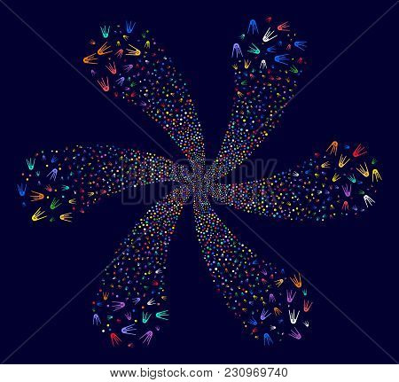 Bright First Satellite Explosion Flower Shape On A Dark Background. Psychedelic Burst Combined From