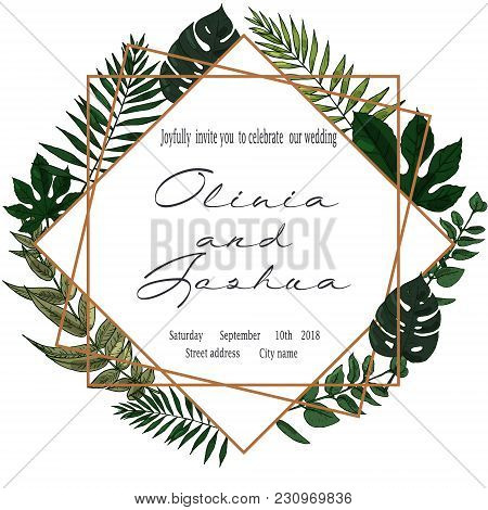 Vector Wedding Invite Invitation Save The Date Floral Card Design. Green Fern, Forest Leaves Herbs,