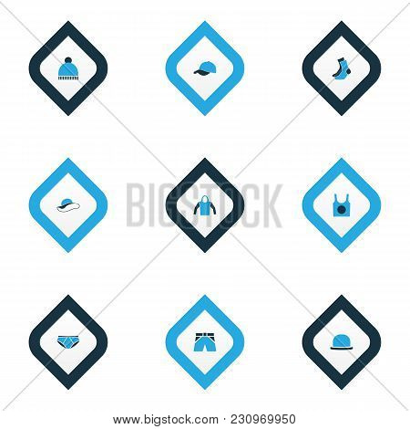 Clothes Icons Colored Set With Singlet, Briefs, Hat And Other Sweatshirt Elements. Isolated Vector I